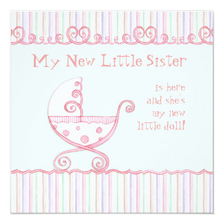"""Swirly Carriage & Hearts, Baby Girl Announcement 5.25"""" Square Invitation Card"""