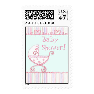 Swirly Carriage & Hearts, Baby Shower Postage