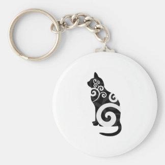 Swirly Cat Black Basic Round Button Keychain