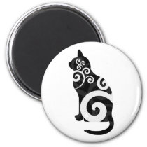 Swirly Cat Black Magnet