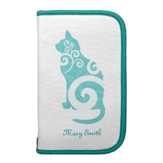 Swirly Cat Blue Custom Name Folio Planners
