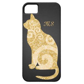 Swirly Cat Gold Glitter iPhone 5 Cases
