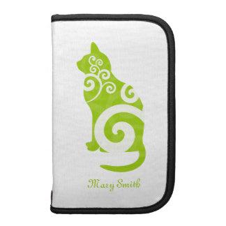 Swirly Cat Green Custom Name Planner