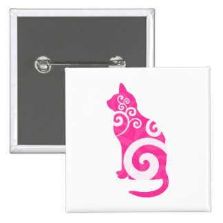 Swirly Cat Pink 2 Inch Square Button
