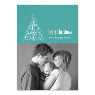 Swirly Christmas Tree Card Merry X-mas (Aqua)