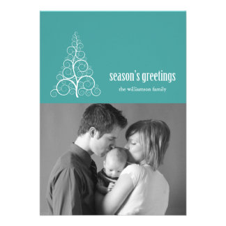 Swirly Christmas Tree Card Merry X-mas Aqua