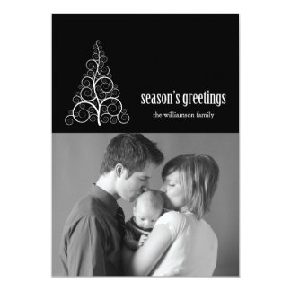 Swirly Christmas Tree Card Merry X-mas (Black)