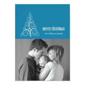 Swirly Christmas Tree Card Merry X-mas (Blue)