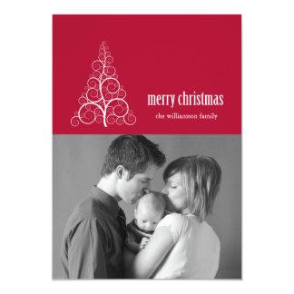 Swirly Christmas Tree Card Merry X-mas (Burgandy)