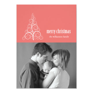 Swirly Christmas Tree Card Merry X-mas (Coral)