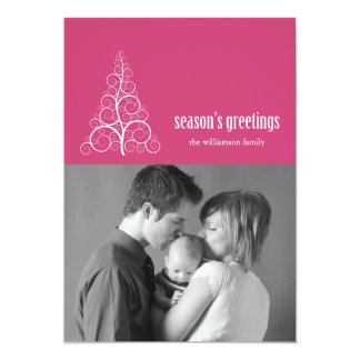 Swirly Christmas Tree Card Merry X-mas (Dark Pink)