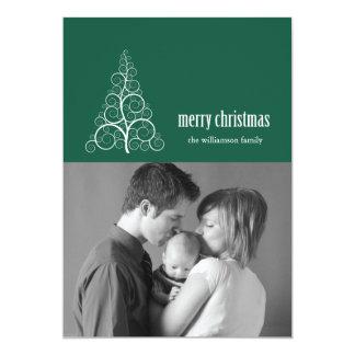 Swirly Christmas Tree Card Merry X-mas (Evergreen)