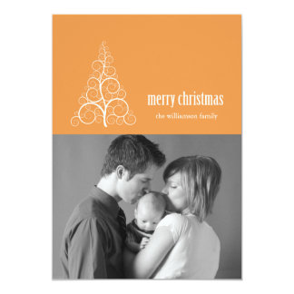 Swirly Christmas Tree Card Merry X-mas (Gold)