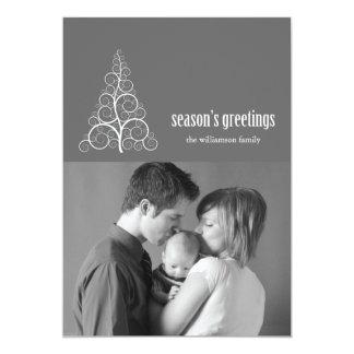 Swirly Christmas Tree Card Merry X-mas (Gray)