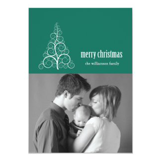 Swirly Christmas Tree Card Merry X-mas (Green)