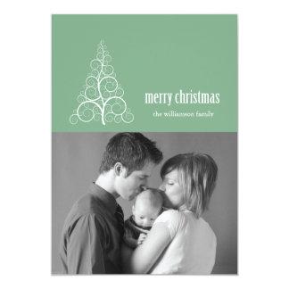 Swirly Christmas Tree Card Merry X-mas (Mint)