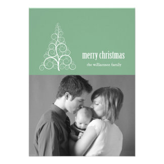 Swirly Christmas Tree Card Merry X-mas Mint