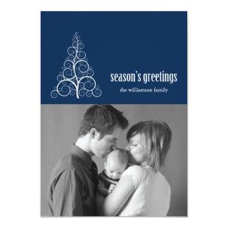 Swirly Christmas Tree Card Merry X-mas (Navy Blue)