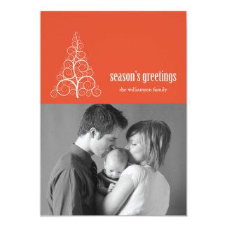 Swirly Christmas Tree Card Merry X-mas (Orange)