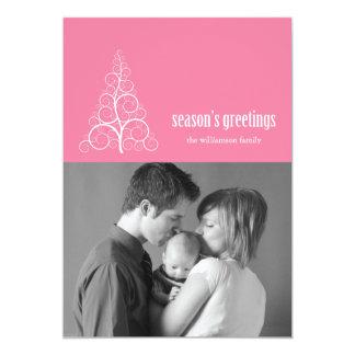 Swirly Christmas Tree Card Merry X-mas (Pink)