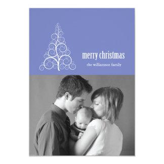 Swirly Christmas Tree Card Merry X-mas (Purple)