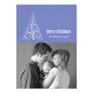 Swirly Christmas Tree Card Merry X-mas Purple