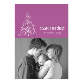 Swirly Christmas Tree Card Merry X-mas (Raspberry)