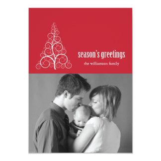Swirly Christmas Tree Card Merry X-mas (Red)