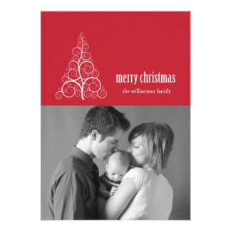 Swirly Christmas Tree Card Merry X-mas Red