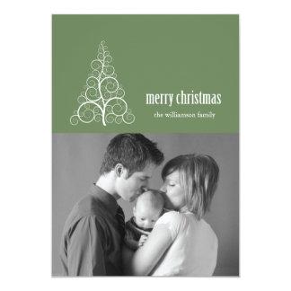 Swirly Christmas Tree Card Merry X-mas (Sage)