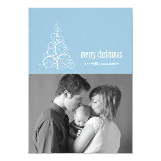 Swirly Christmas Tree Card Merry X-mas (Sky Blue)