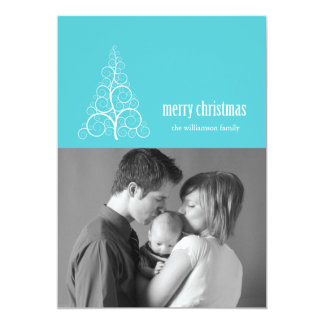 Swirly Christmas Tree Card Merry X-mas (Teal)