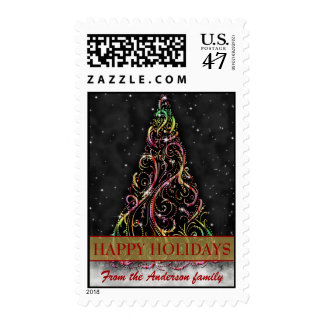 Swirly Christmas Tree Happy Holiday Postage Stamps