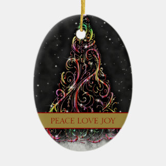 Swirly Christmas Tree Oval Xmas Ornament