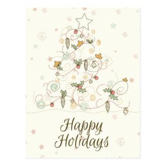 Swirly Christmas Tree Postcard