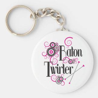 Swirly Circle Baton Twirler Basic Round Button Keychain