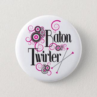 Swirly Circle Baton Twirler Button