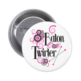 Swirly Circle Baton Twirler Button