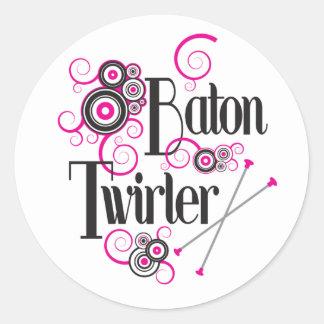 Swirly Circle Baton Twirler Classic Round Sticker