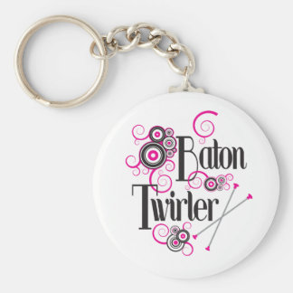 Swirly Circle Baton Twirler Key Chains