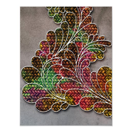 "Swirly colorido de moda floral invitación 4.25"" x 5.5"""