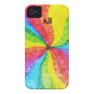 Swirly Crayon Style Rainbow iPhone 4 Case