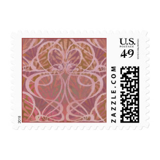 Swirly Curvy Heart Shapes Postage