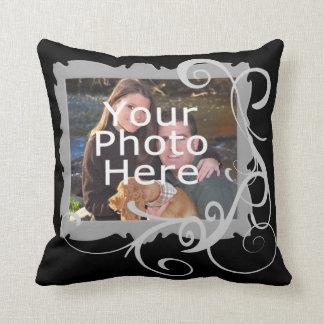 Swirly Custom Photo Frame Cushion Throw Pillow