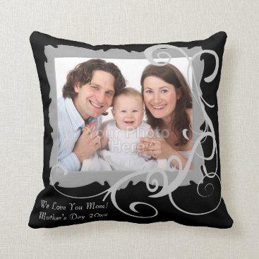 Swirly Custom Photo Mother's Day Pillow