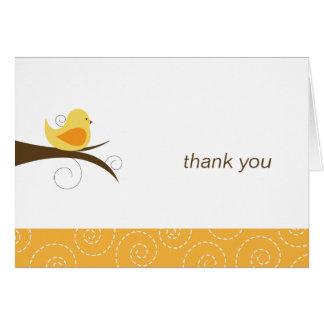 Swirly Cute Bird Note Card Thank You Note Folded