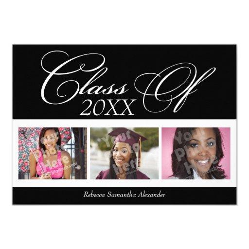 """Swirly Delight 3-Photo Graduation Announcement 5"""" X 7"""" Invitation Card"""