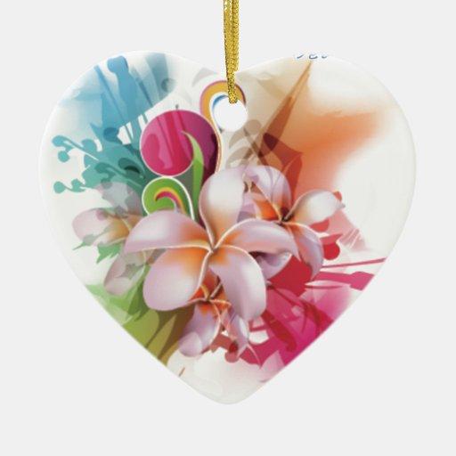 Swirly diseño floral en colores brillantes adorno navideño de cerámica en forma de corazón