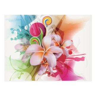 Swirly diseño floral en colores brillantes tarjetas postales