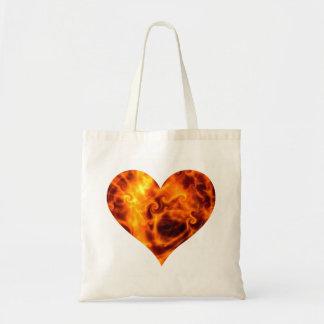 Swirly Flames Love Heart Tote Bag